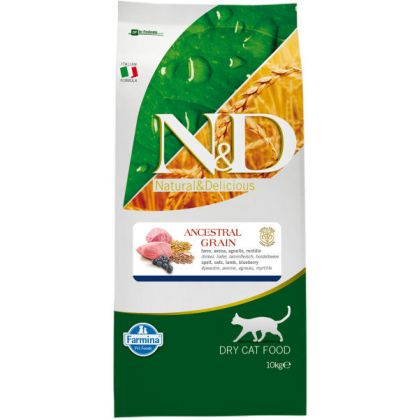 Hrana uscata pentru pisici N&D Low Grain Adult Cat Miel si Afine, 10 Kg