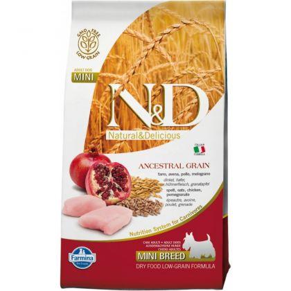 N&D Low Grain Adult Mini Pui si Rodie, 7 Kg