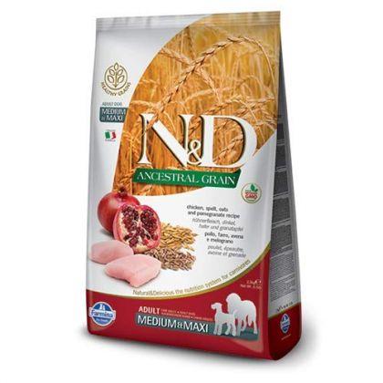 Hrana uscata pentru caini N&D Low Grain Adult Medium and Maxi, Pui si Rodie, 12 kg