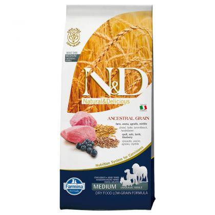 Hrana uscata pentru caini N&D Low Grain Adult Medium, Miel si Afine, 12 kg