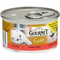Hrana umeda pentru pisici conserva Gourmet Gold Savoury Cake cu Vita si Rosii, 85g