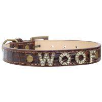 Zgarda piele Woof XS (Extra Small) pentru caini