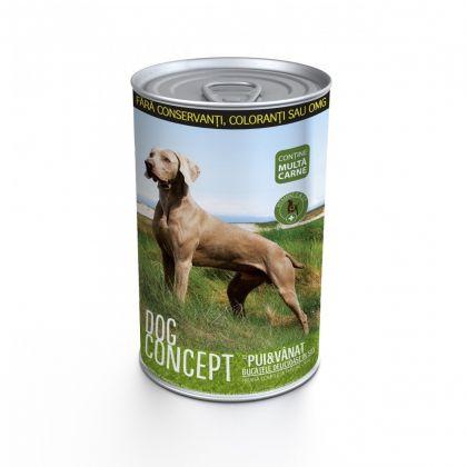 Conserva pentru caini Dog Concept cu Pui si Vanat, 1240 g