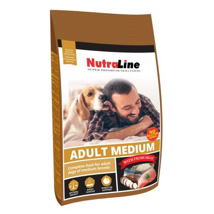 Hrana uscata pentru caini Nutraline Dog Adult Medium, 12 Kg