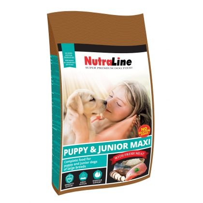 Hrana uscata pentru caini Nutraline Dog Puppy & Junior Maxi, 12.5 Kg