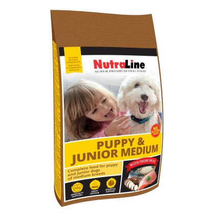 Hrana uscata pentru caini Nutraline Dog Puppy & Junior Mediu, 12.5 Kg
