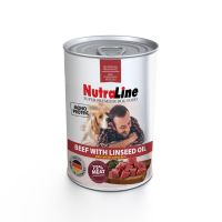 Conserva pentru caini Nutraline Dog Adult cu Vita si Ulei de in, 800 g
